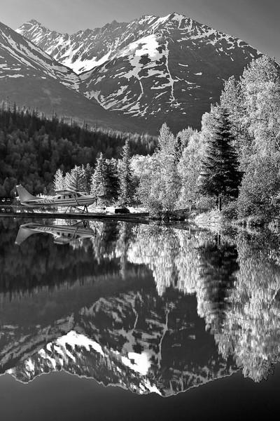 Alaska, Bear Lake, Chugach National Forest, Seward, Reflection Black and White, Landscape,  阿拉斯加 黑白摄影, 风景