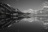 Montana, Glacier National Park, Many Glaciers, Swiftcurrent Lake, Reflection, Landscape, Black and White, 蒙大拿, 冰川国家公园, 风景, 黑白摄影