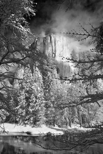 California, Yosemite National Park, El Capitan, Winter, Snow Black White Landscape Art 加利福尼亚 优胜美地国家公园 冬 黑白摄影, 风景