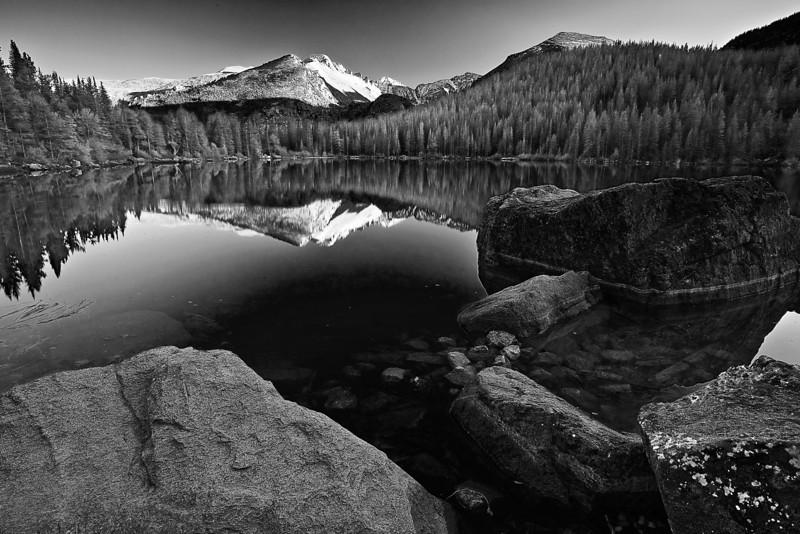 Colorado, Rocky Mountain National Park, Bear Lake, Reflection, Sunset,Landscape, Black and White, 科罗拉多 落矶山国家公园 秋色, 风景, 黑白摄影