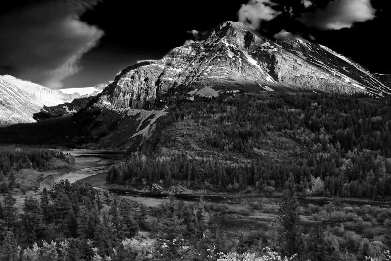 Montana, Glacier National Park, Many Glaciers, Sunset, Landscape, Black and White, 蒙大拿, 冰川国家公园, 风景, 黑白摄影