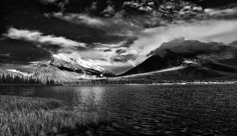 Canaian Rockies, Banff National Park, Vermilion Lake, Landscape, Black & White, HDR,  加拿大, 班夫国家公园 黑白摄影, 风景