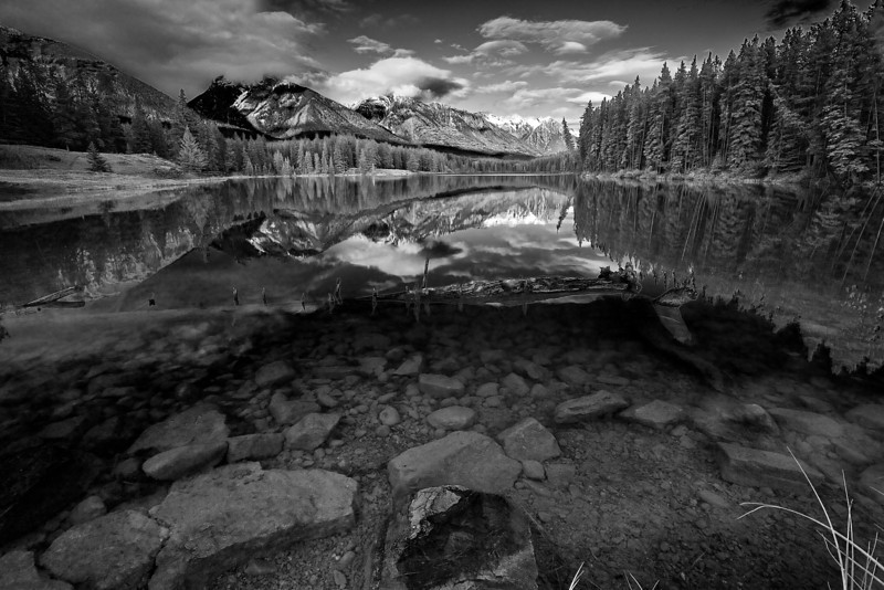 Canaian Rockies, Banff National Park, Johnson Lake, Reflection, Landscape, Black & White,  加拿大, 班夫国家公园 黑白摄影, 风景