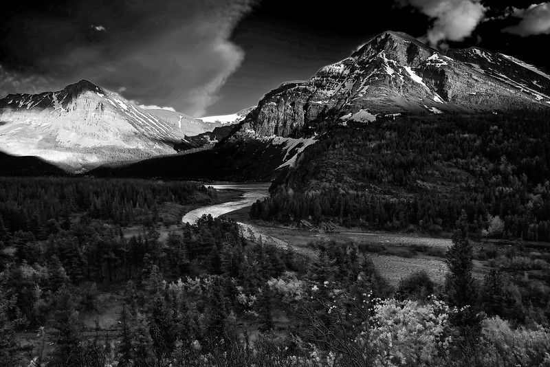 Montana, Glacier National Park, Many Glaciers, Sunset, Landscape, Black and White, 蒙大拿, 冰川国家公园, 风景, 黑白摄影