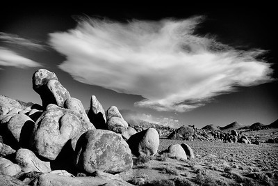 Alabama Hills Formations Black and White Lenticular Cloud