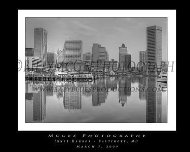 Baltimore Inner Harbor - B & W -  07 Mar 2009