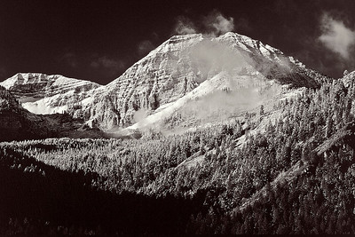 bw16:  early autumn dusting of snow on Mount Timpanogos