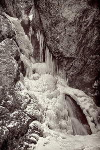 bw18:  Hidden Falls, Big Cottonwood Canyon, partially frozen in winter.  Bill made the original capture on film.