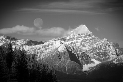 A perfect couple - My recent drive to Jasper had me keeping an eye on the Moonset, and it perfectly lined up with a Jasper Icon, Mt. Edith Cavell. This photo doesn't quite capture how awe inspired I was by these 2 icons, one 'male' and one 'female', meeting in my field of view.