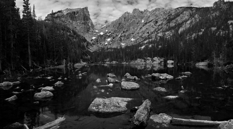 Hallett Peak overlooking Dream Lake in Rocky Mountain National Park.  This peak is the essence of the ruggedness that you'll find in this park.