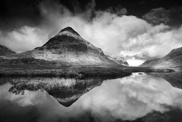 Black and white images of the scottish scenery