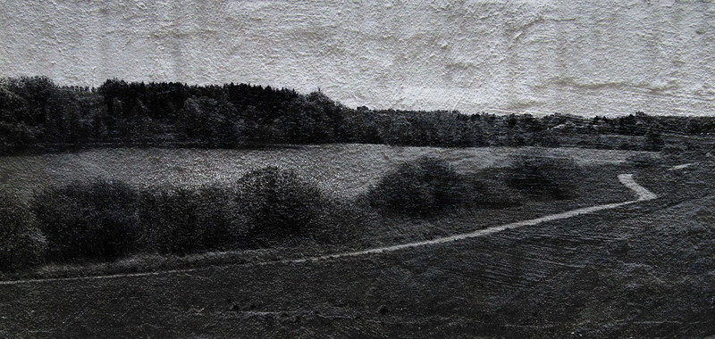 """Lost Lake""<br /> B&W photo merged with copy of scruffed wall. Bastrup Lake seen from the Bastrup Stonetower."