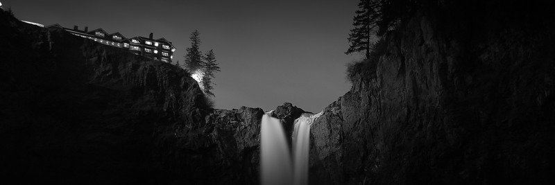 Snoqualmie Falls and Salish Lodge at Dusk - Washington