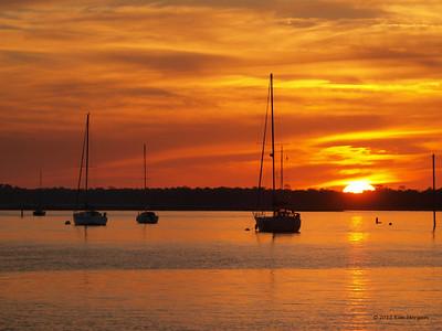 Sunset at the marina on Amelia Island, FL.