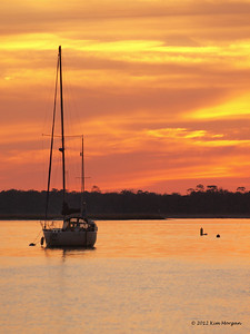 Sunset view from the marina at Amelia Island, FL.