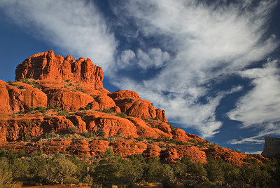 Bell Rock and dramatic clouds, near Sedona, Arizona, on the southern edge of the Plateau