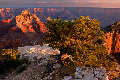late light on the Vishnu Temple, Cape Royal area, North Rim of the Grand Canyon