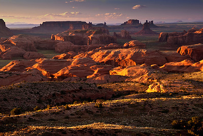 Sunset light on Monument Valley, from atop Hunt's Mesa, Navajo Nation, Arizona