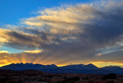 Phyllis' image of sunrise with God's beams over the Sierra LaSal, southern Utah