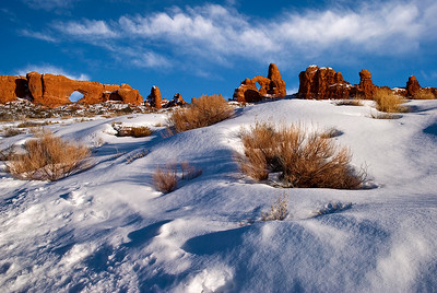 Late winter light at the South Window and Turret Arch, Arches National Park
