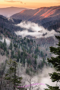Sunset in the Newfound Gap area of the Great Smokey Mountain National Park.