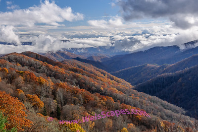 Clouds breaking up over the Great Smokey Mountains.
