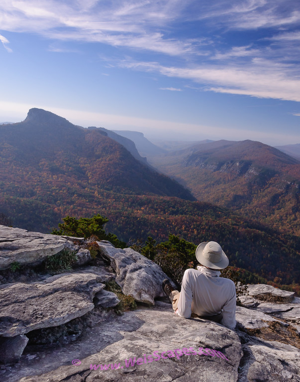 Watching the sunrise over Linville Gorge from the top of Hawksbill Mountain.  Looking towards Table Rock Mountain.