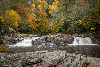 Upper Waterfalls, Linville River in Autumn