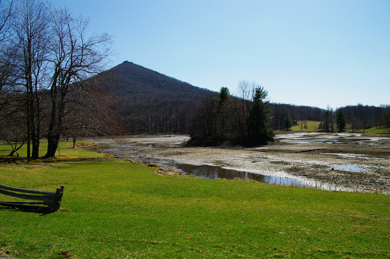They have drained the lake at the Peaks of Otter Lodge to repair the dam.