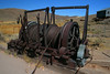 Mine shaft car lifting machinery, Bodie Calif., 9-25-09. looking North. The land behind this equipment is where the rest of the town was in the early years prior to the 1932 fire. It was nearly covered in structures up to the hillside .