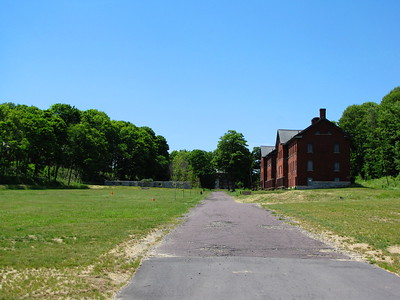 Fort Andrews parade ground and enlisted men's barracks
