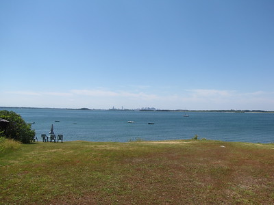 Boston skyline from Peddocks Island cottages