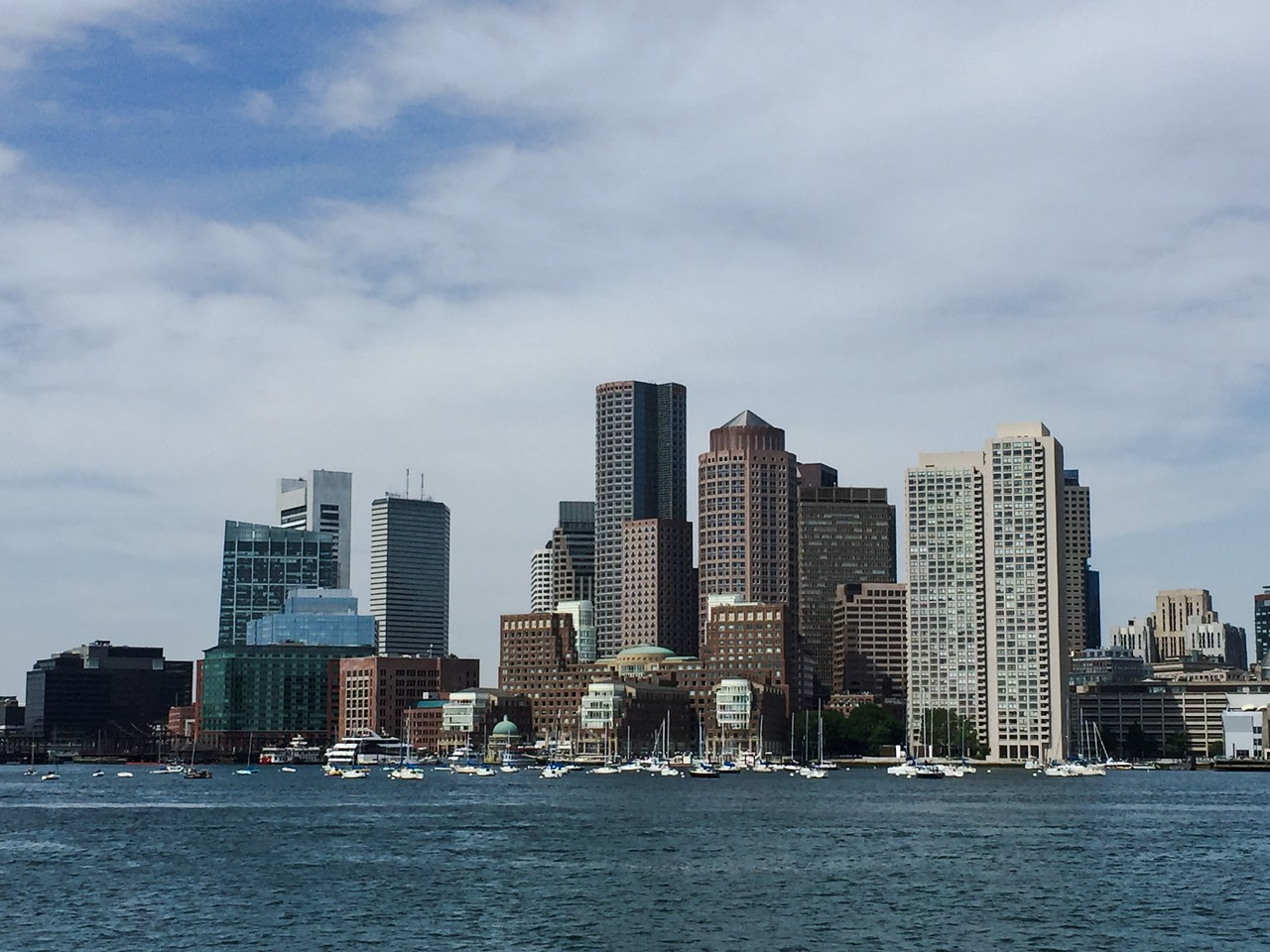 Rowes Wharf and Boston skyline from the Harbor