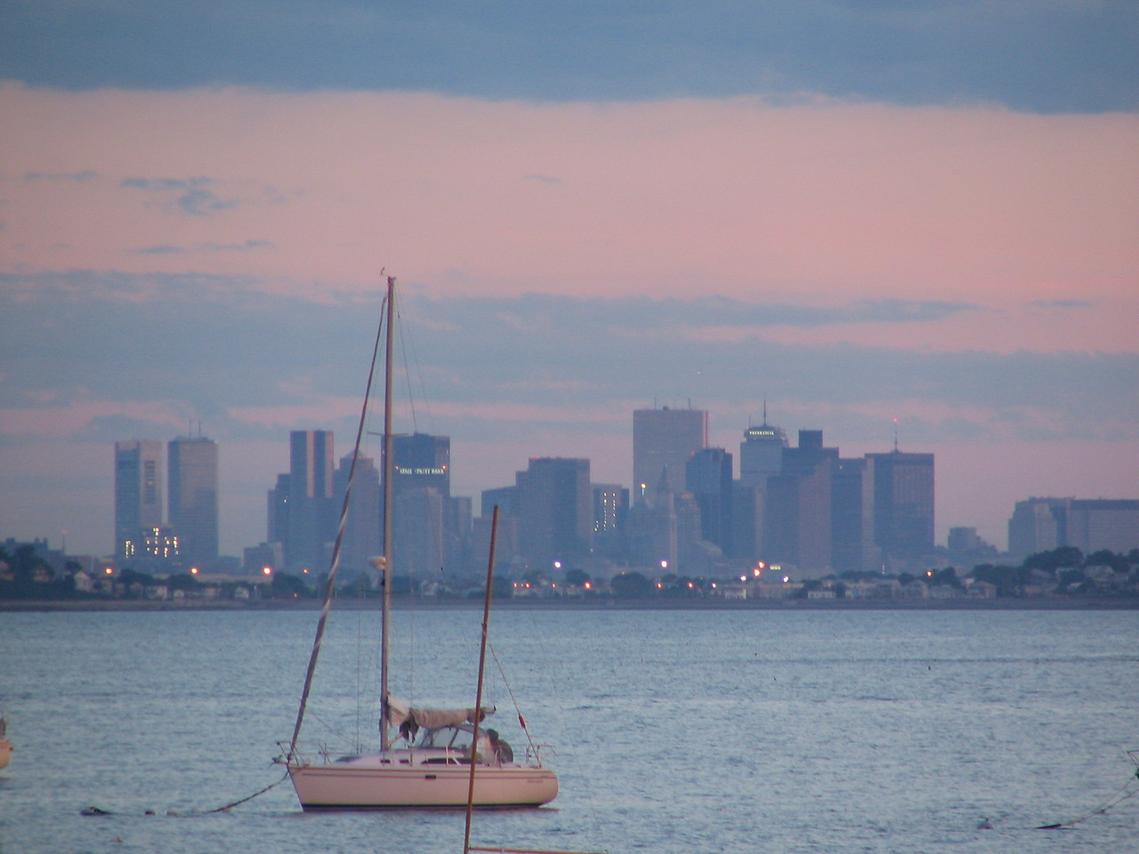 Boston skyline taken from Nahant marina