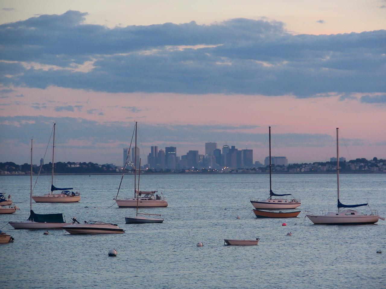 Boston skyline taken from Nahant marina
