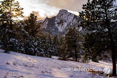 Fifth Flatiron in snow, Boulder, Colorado