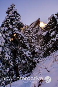 Third Flatiron in Snow above Boulder