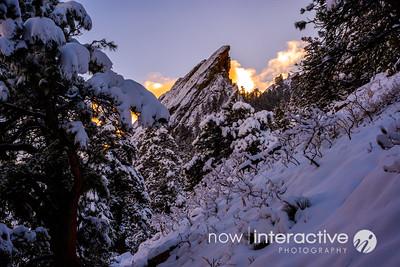 Purple snow and orange clouds - Third Flatiron, Boulder, Colorado
