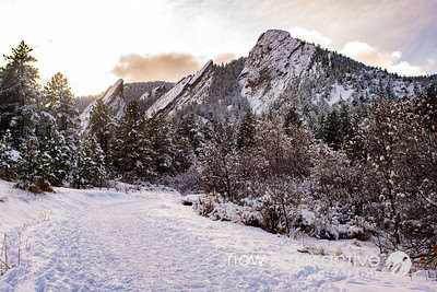 Third to fifth Flatiron in snow, Boulder, Colorado