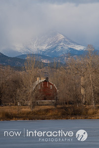 Storm over Longs Peak and the red barn, Hygene, Colorado