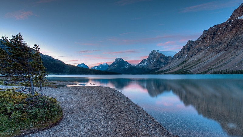 Bow Lake looking South before sunrise. This is pretty close to the lodge.