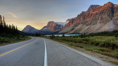 Looking south down highway toward Bow Lake