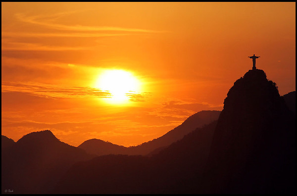 Christ the Redeemer statue, sunset