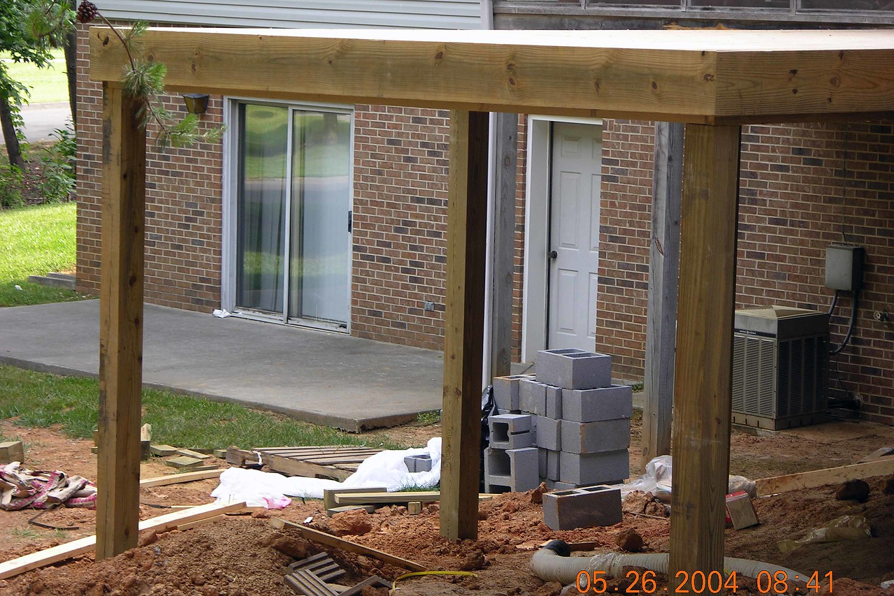 Note tha beams holding up deck have been added