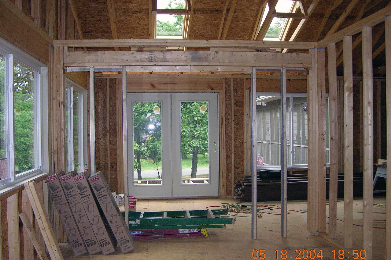 Looking from sewing room through into  sitting area, note skylights above sitting area