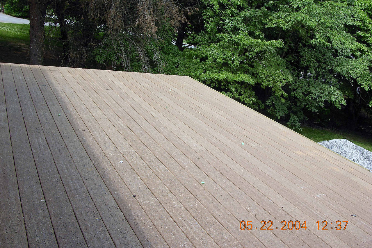 Deck is made of Trex material which is basically compressed platic bags - supposedly indestructible and maintenance free
