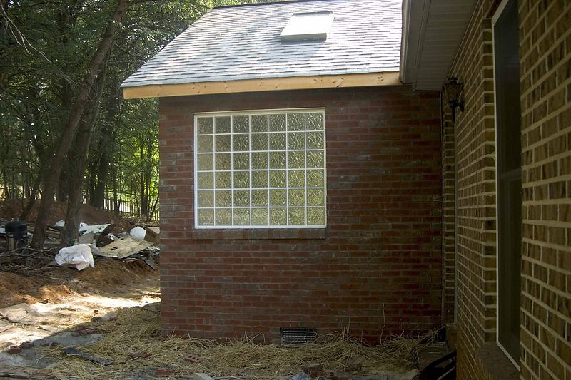 July 13 2004  Front view of addition with brick done