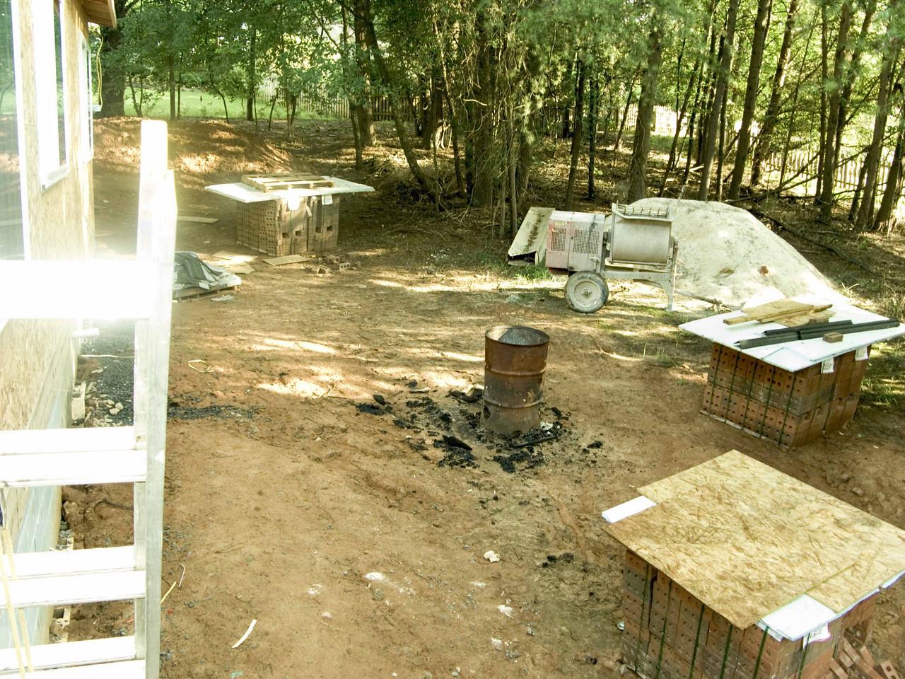 July 7 2004  Getting ready to lay bricks