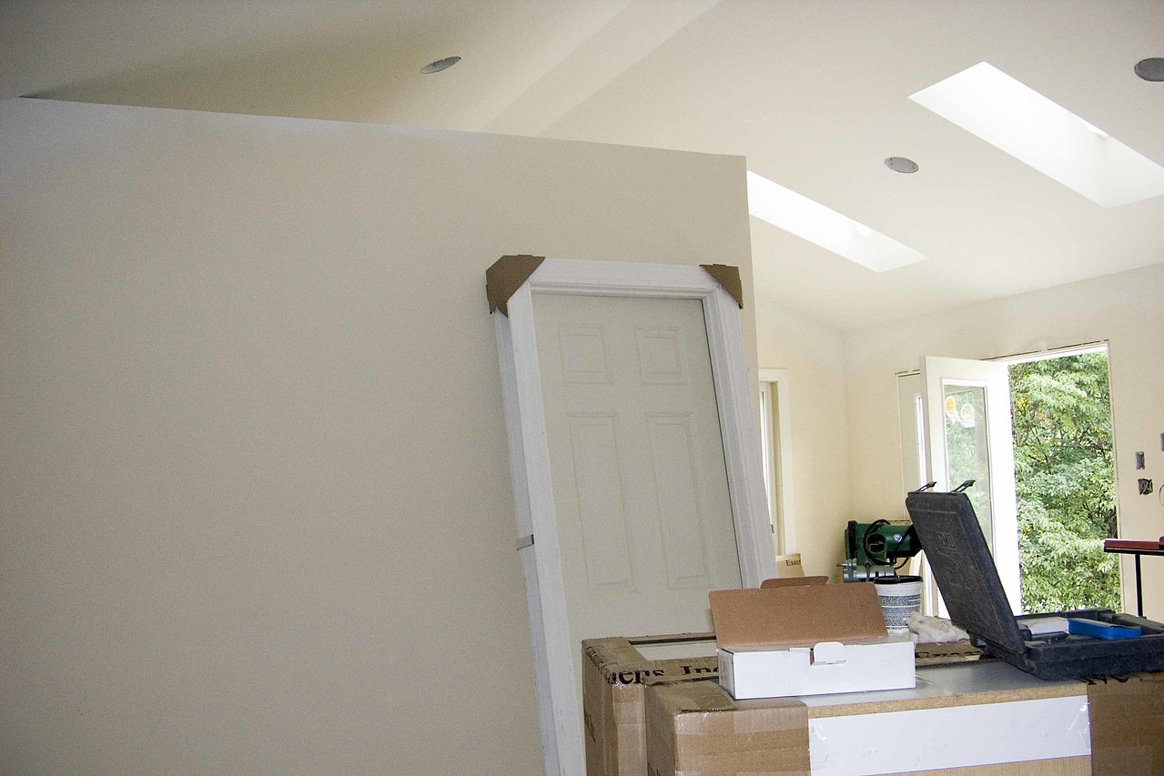 July 19 2004 lookinf from bedroom towards wall of sewing room with open ceiling above and sitting room on right