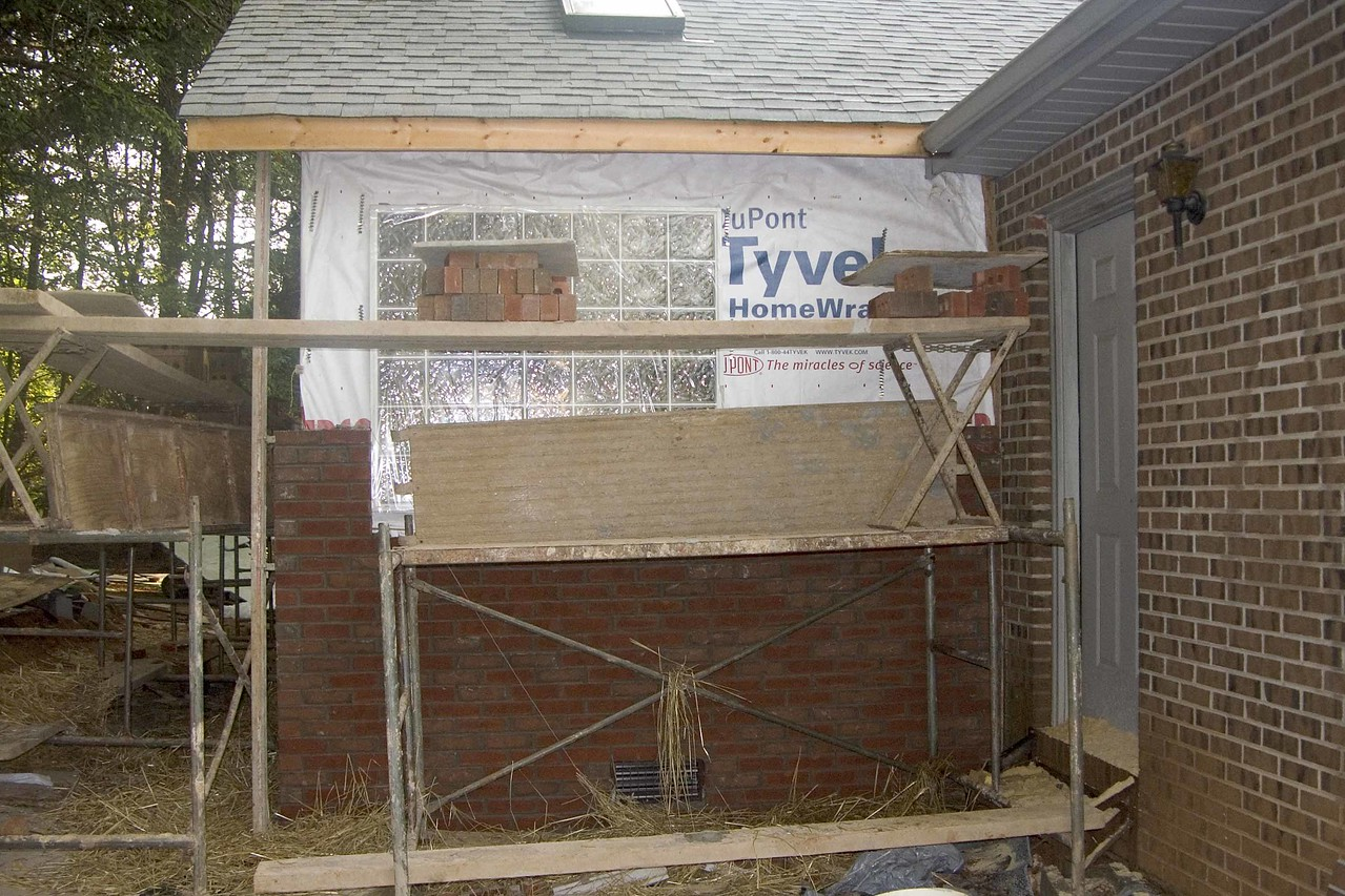 July 12 2004  Brick about half way up in front